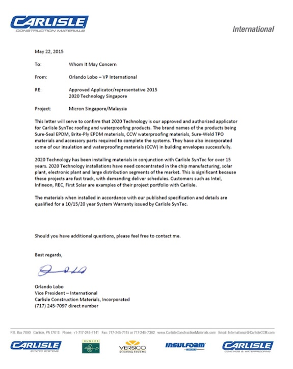 Carlisle Approved Applicator   2020Technology.com